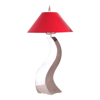 21st Century Modern Stainless Steel Table Lamp With Red Aluminum Shade For Sale
