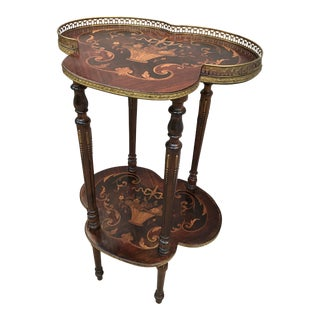 Antique Victorian Etagere With Marquetry Shelves For Sale