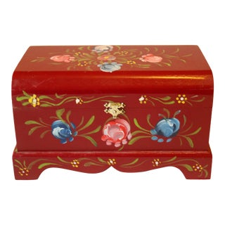 1950s Handpainted Wooden Storage Box, Jewelry Box, For Sale