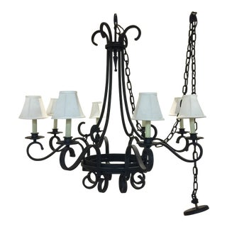 Large Black Iron Chandelier With 8 Linen Shades For Sale