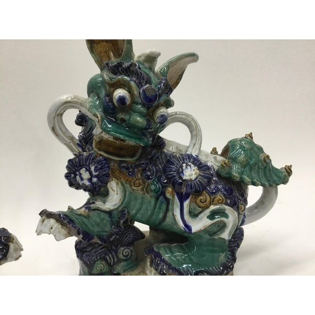 Asian Early 20th Century Vintage Vietnamese Ceramic Foo Dog Figurines- A Pair For Sale - Image 3 of 13