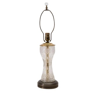 VintageCut Glass Table Lamp and Finial For Sale