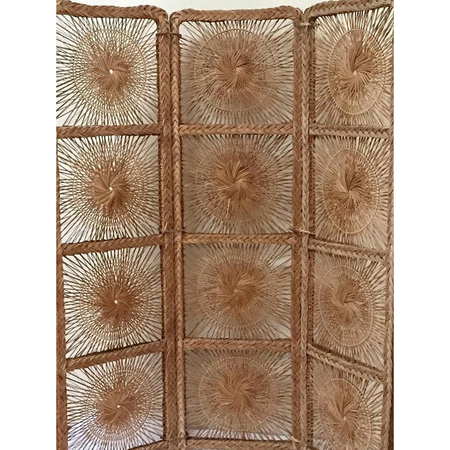 Mid Century Modern Rattan Folding Screen 3 Panel Room Divider Boho Headboard For Sale In Richmond - Image 6 of 11