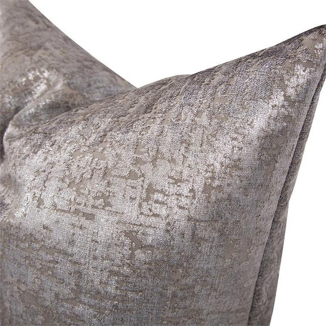 """Not Yet Made - Made To Order Kenneth Ludwig Chicago Mousse Pewter 24"""" Square Pillow For Sale - Image 5 of 6"""