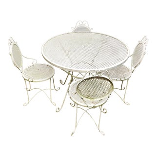 Mid Century Modern Mesh Metal Patio Set - Table & 4 Chairs For Sale
