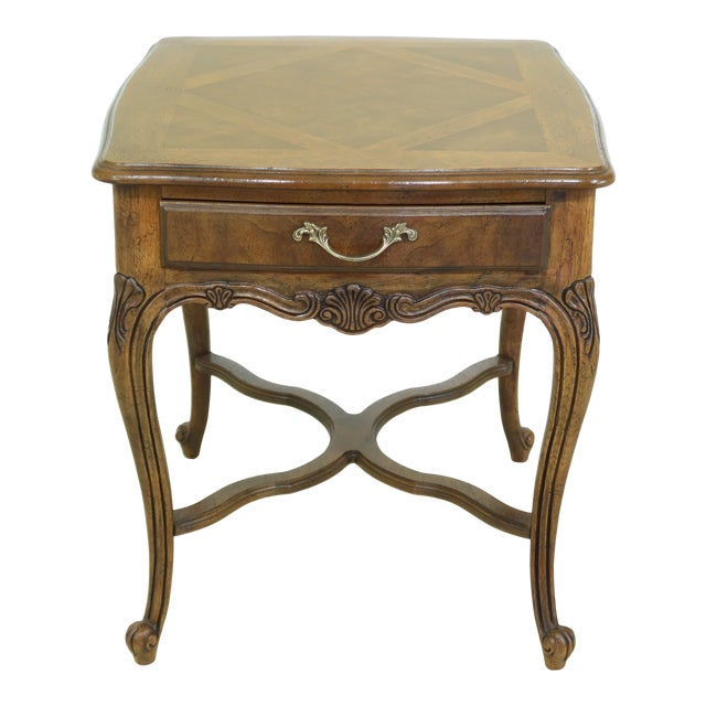 Drexel Heritage Country French Style Walnut & Oak End Table For Sale