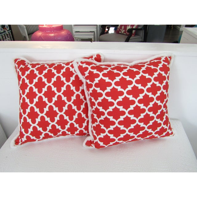 Red & White Moroccan Print Pillows With Fringe , a Pair For Sale - Image 4 of 4