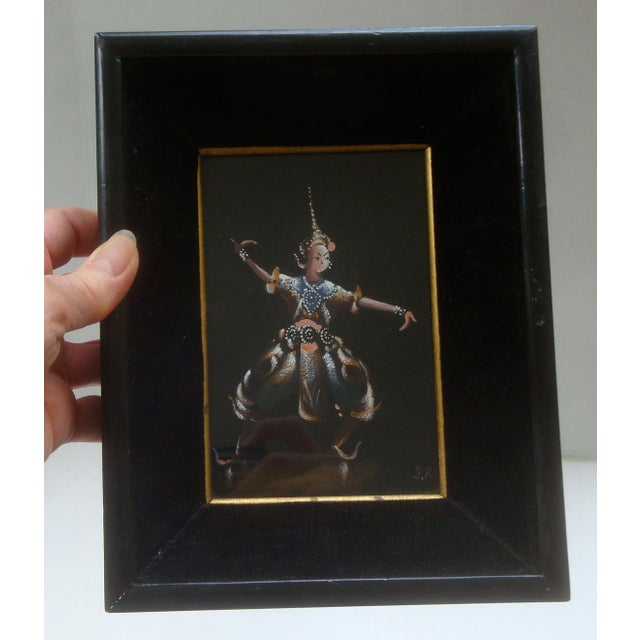Mid-Century Modern Thailand or Bali Dancer Silk Paintings, Set of 3 For Sale - Image 3 of 10