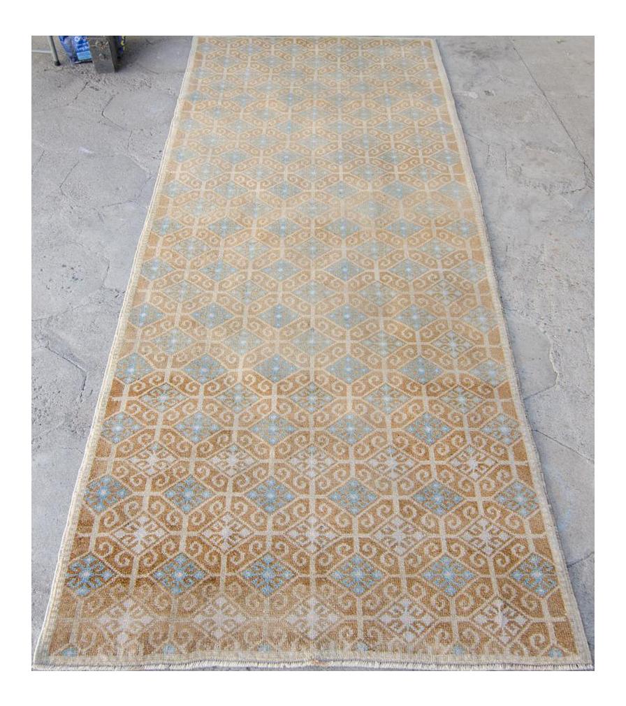 E Vintage Anatolian Oushak Handwoven Wool Distressed Low Pile Faded Area Rug   8u00275u201d X 3u00275u201d