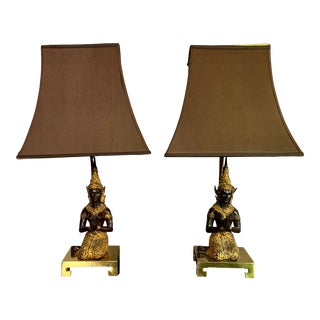 Thai Thepphanom Angel Brass Base Table Lamps - A Pair For Sale