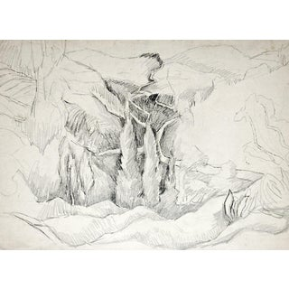 Rugged Landscape Pencil Study by George Baer For Sale