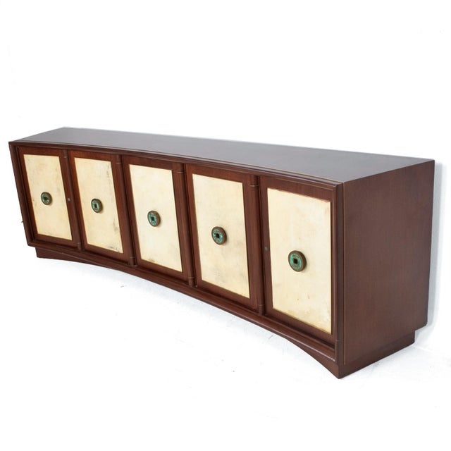 Metal Dramatic Curved Mahogany Goatskin Credenza For Sale - Image 7 of 7