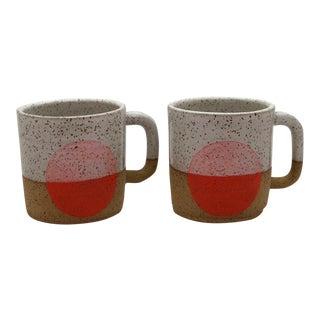 Handmade Orange & White Sunset Mugs - A Pair
