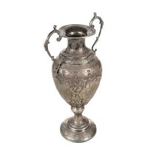 19th Century Persian Hand Chased Silver Urn For Sale