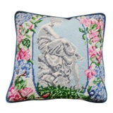 Image of 1970s Needlepoint Pillow with Velvet Back and Pink Flowers For Sale