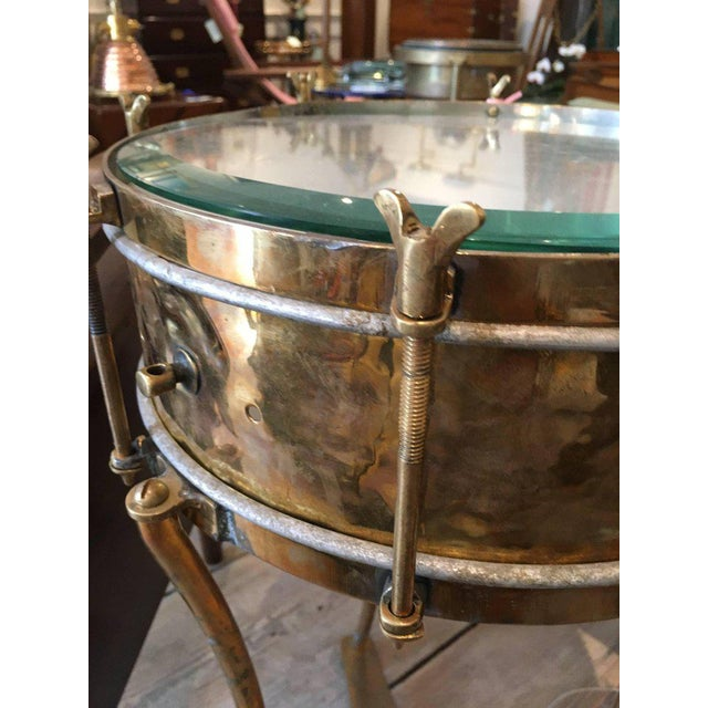 Solid Brass Military or Marching Band Snare Drum Converted to Table, Early 1900s For Sale In Nantucket - Image 6 of 8