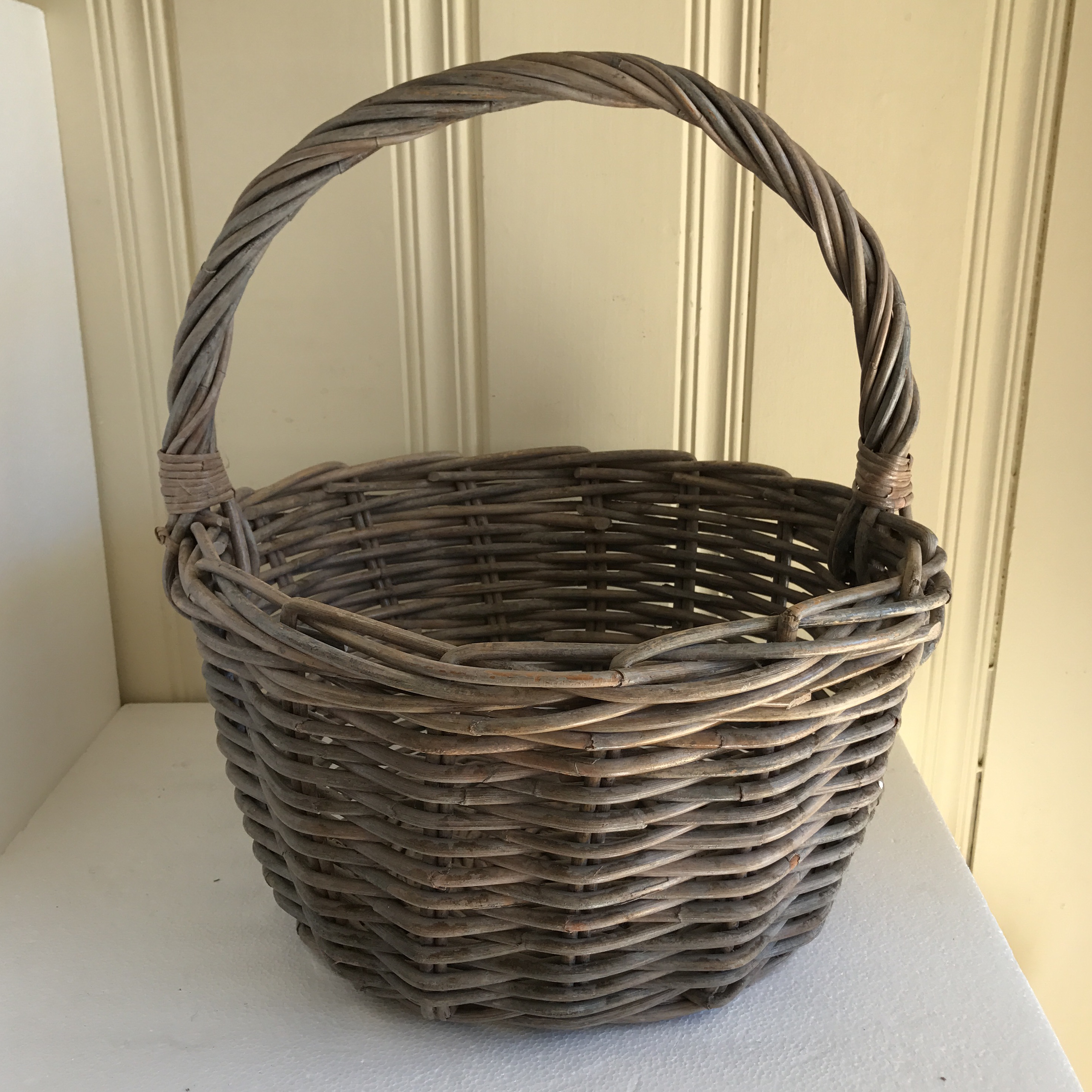 Rustic Gray Washed Wood Basket   Image 2 Of 11