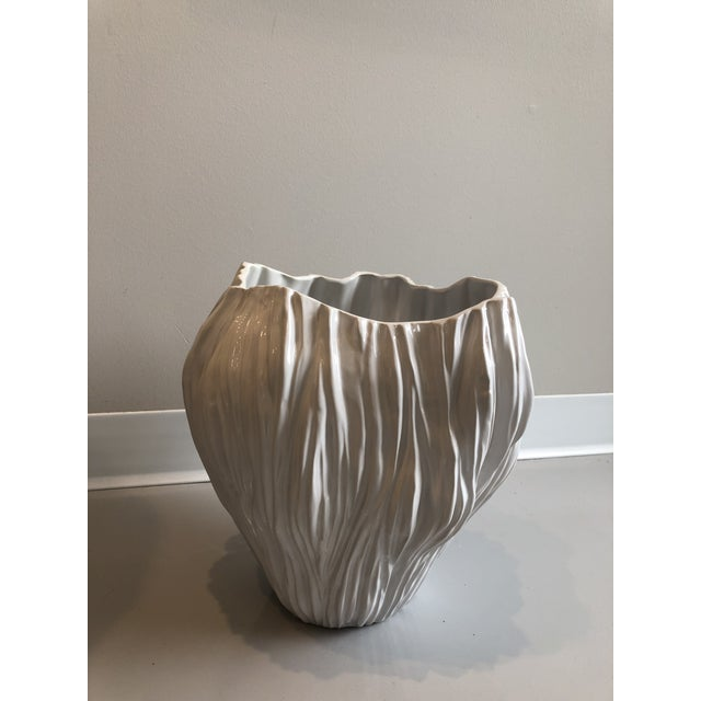 Piriform large ceramic white vases from Tozai Home.