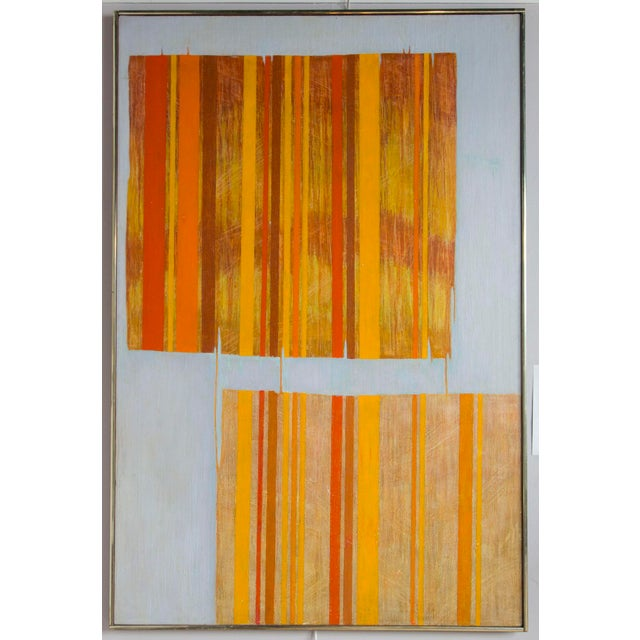 Large Mid Century Abstract Oil Painting on Linen by Listed Artist For Sale - Image 9 of 9