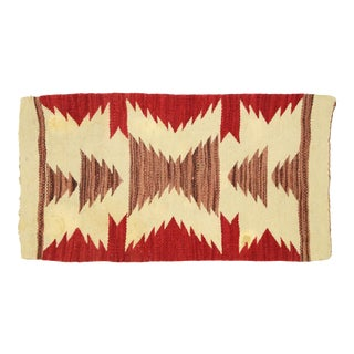 Native American Antique Kilim Rug With With Navajo Two Grey Hills Style - 01'07 X 03'00 For Sale