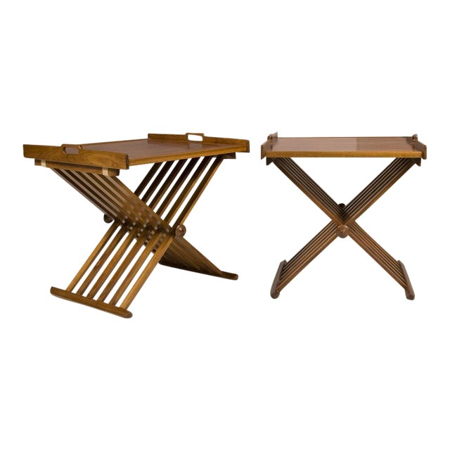 Pair of Walnut Folding Campaign Tables by Stewart MacDougall For Sale