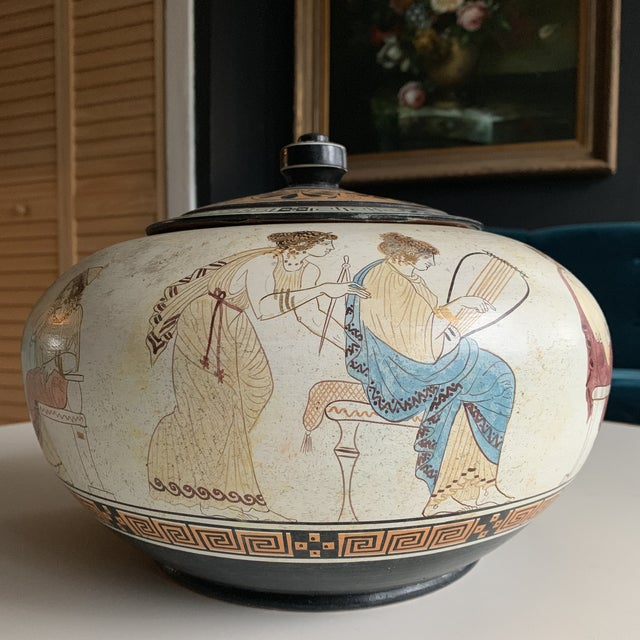 Mid 20th Century Greek Handmade Lidded Vase With 9 Muses For Sale - Image 5 of 9