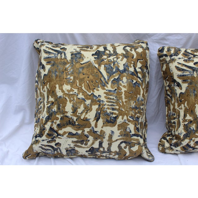 Contemporary Printed Linen Navy Blue and Bronze Down Pillows - a Pair For Sale - Image 4 of 12