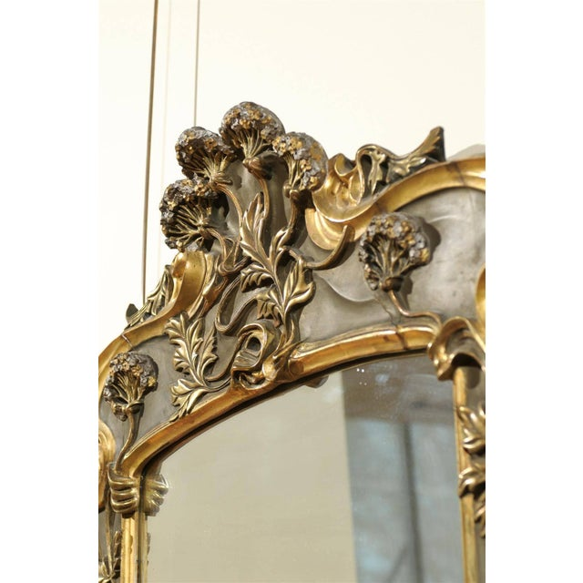 1950s Art Nouveau Style Gold & Taupe Mirror For Sale - Image 5 of 11