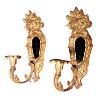 Brass Bronze Wall Sconces Candle Holders - A Pair For Sale
