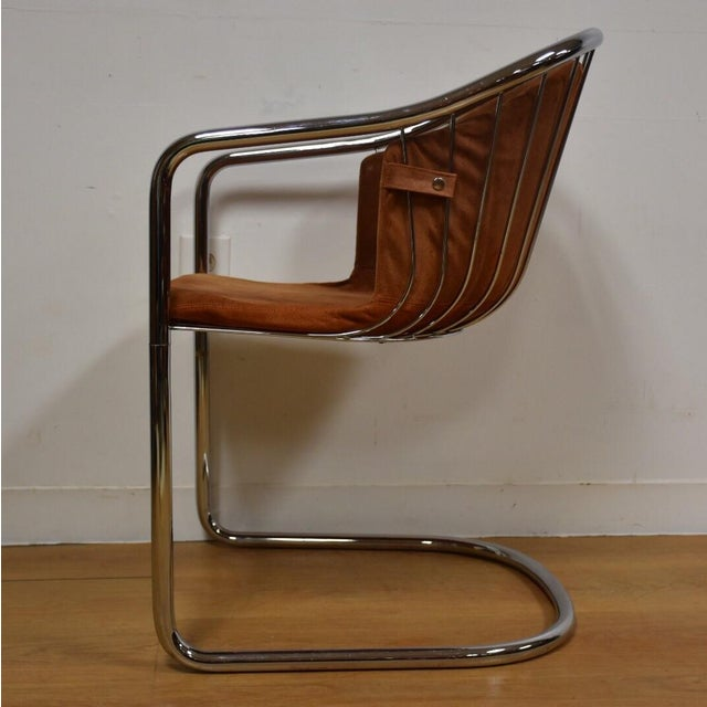 Mid-Century Chrome and Suede Chair - Image 6 of 9