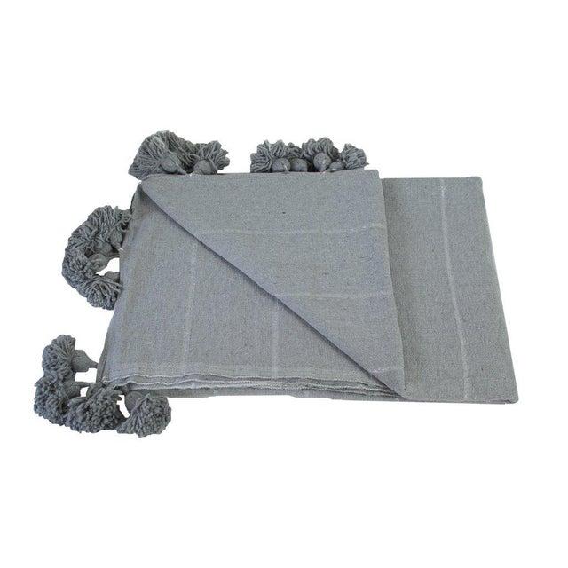 Islamic Moroccan Pom Pom Blanket, Silver on Gray With Grey Pom Poms For Sale - Image 3 of 4