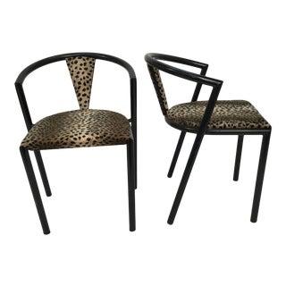 Pair of Midcentury Bks Denmark Black Metal Chairs For Sale