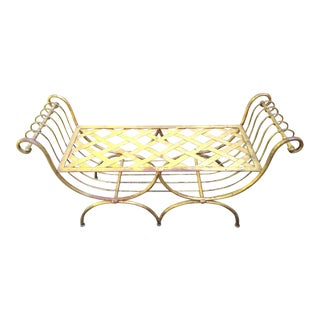 Hollywood Regency Gilded Metal Bench For Sale