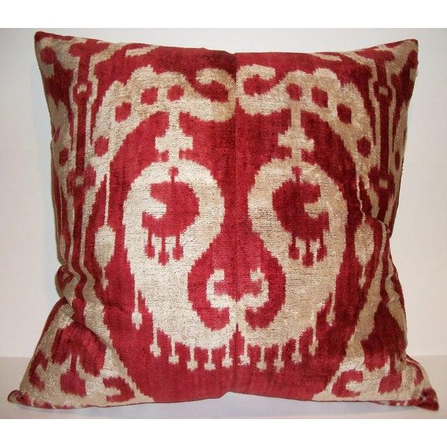 Custom made Silk Velvet Ikat Pillow - Image 2 of 3