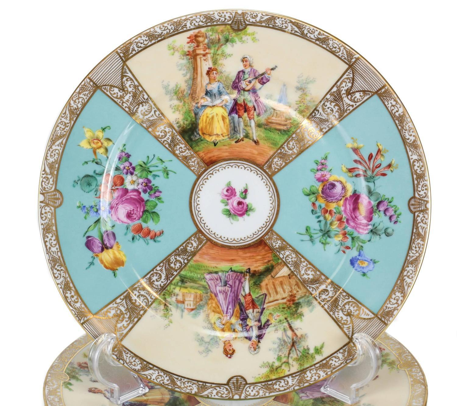 Dresden Porcelain Hand-Painted Cabinet Plates by Ambrosius Lamm - Set of 12 - Image  sc 1 st  Chairish & Dresden Porcelain Hand-Painted Cabinet Plates by Ambrosius Lamm ...