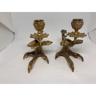 Cast Brass Bird Talon Candle Holders - a Pair Preview