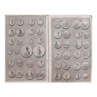 Original 1745 British Engravings, Royal Heraldic Medals - A Pair For Sale