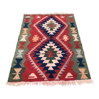 Tribal Handmade Floor Bohemian Kilim Rug -3′10″ × 5′1″