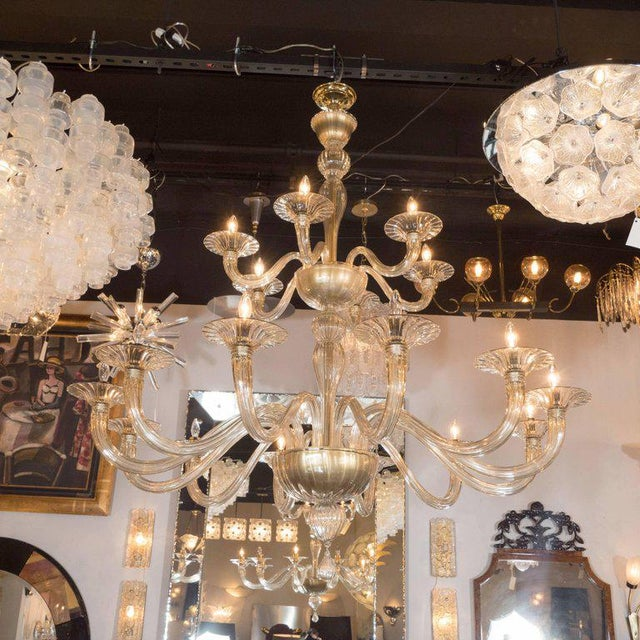 Midcentury Murano Eigh Arm Champagne Gl Chandelier By Barovier E Toso Image 2 Of