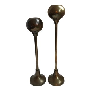 Mid 20th Century Vintage Mid-Century Modern Brass Candlesticks - a Pair For Sale