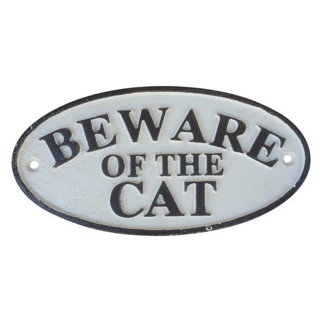 White & Black Cast Iron 'Beware of Cat' Sign - Image 1 of 3