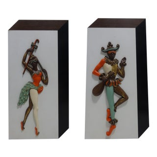 Mid Century Harlequin Jester Dancers Wall Art For Sale