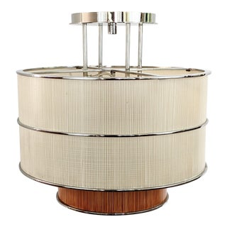 Alger Triton Lighting Chrome Finish Faux Linen and Pencil Bamboo Acrylic Ceiling Lamp For Sale