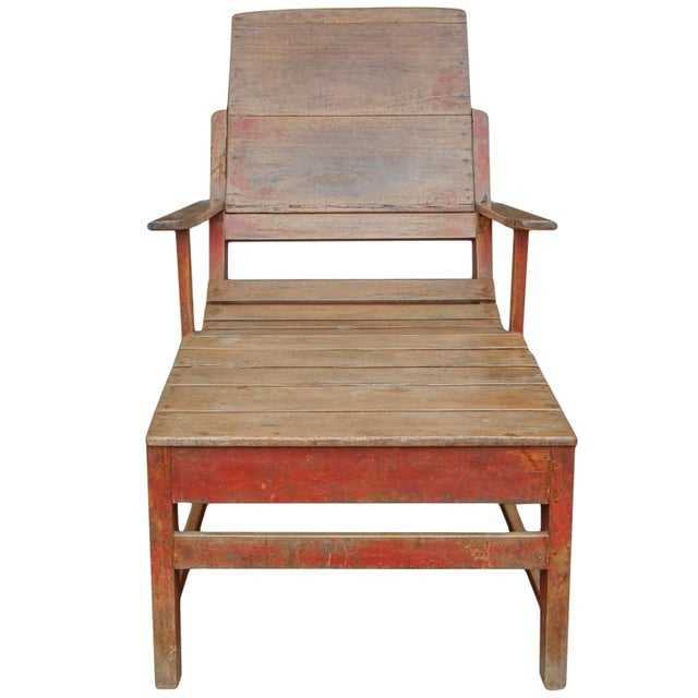 Primitive Painted Wooden Chaise - French C. 19th century.