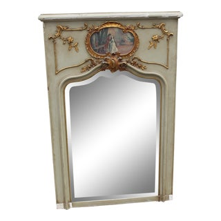 C.18 French Louis XVI French Parcel-Gilt Trumeau Wall Mirror With Oil Painting For Sale
