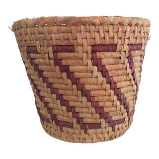 1960s Tribal Woven Basket For Sale