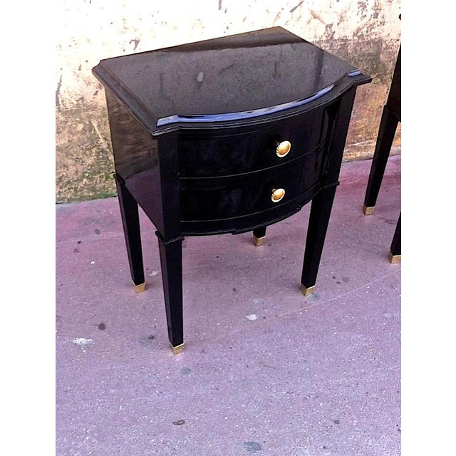 Maison Jansen Maison Jansen Refined Pair of Black Lacquered Bedsides or Side Tables For Sale - Image 4 of 6