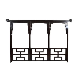 1970s Chinoiserie Century Furniture Black Lacquered Headboard For Sale