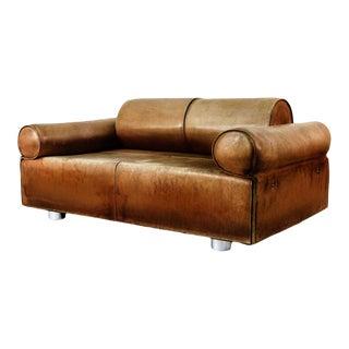 Vintage Mid Century Marzio Cecchi Italian Cognac Two-Seat Sofa For Sale