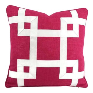 Dark Pink Basket Woven White Ribbon Embellished Pillow Cover For Sale